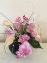 5 Pot boule noire orchidee arum rose
