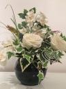 3 Pot boule noire orchidee rose blanche lierre