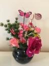 7 Pot boule noire orchidee rose rose